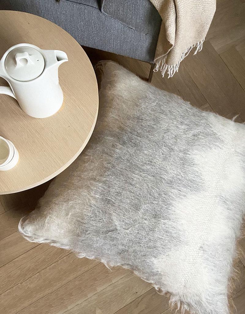 Floor cushion 100% wool diamond grey 90x90