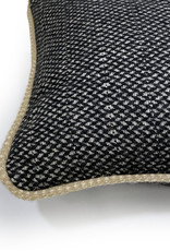 Raven black structure recycled wool square cushion (NEW)
