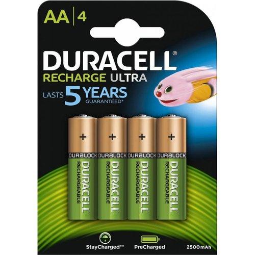 Duracell Recharge Ultra DX1500 HR6 AA 2500mAh Oplaadbare Batterijen BL4