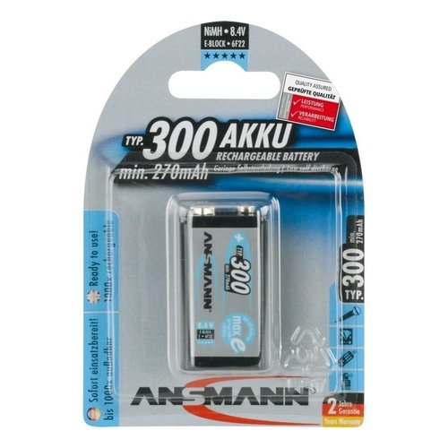 Ansmann Oplaadbare 9V Batterij maxE 300 mAh BL1