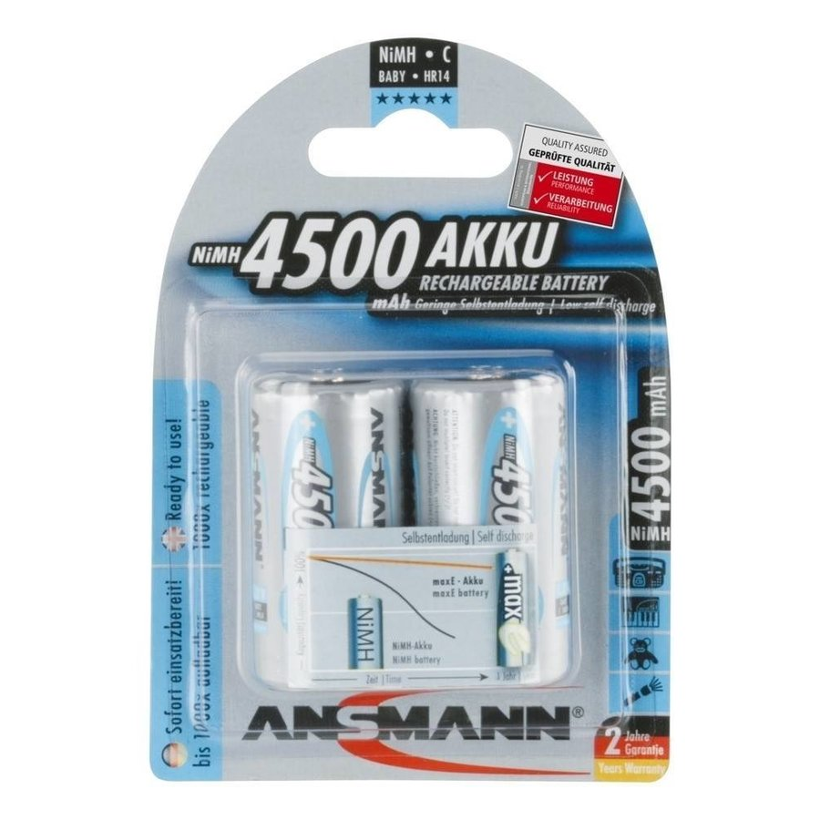 Oplaadbare C Batterijen 4500 mAh HR14 MaxE BL2