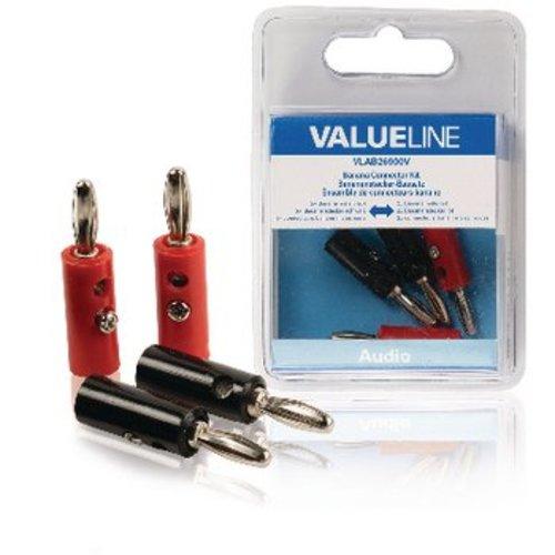 Valueline Banana Connector Male PVC Rood/Zwart