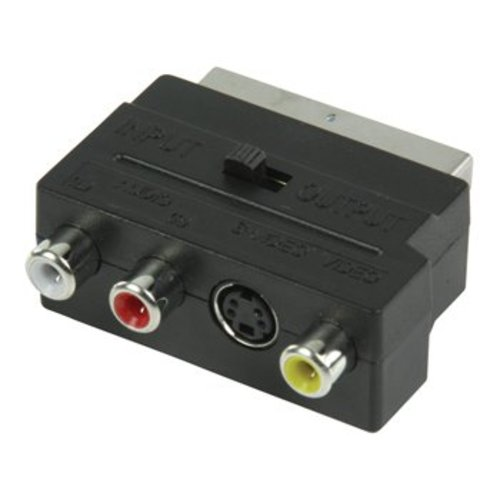 Valueline SCART-Adapter Schakelbaar SCART Male - S-Video Female + 3x RCA Female Zwart