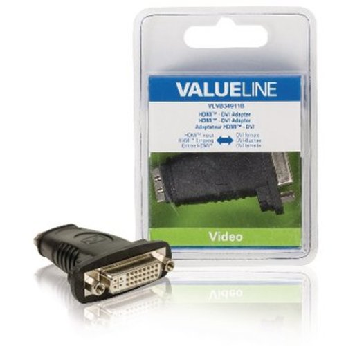 Valueline High Speed HDMI met Ethernet Adapter HDMI Female - DVI-D 24+1-Pins Female Zwart