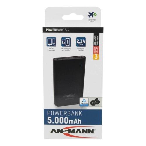 Ansmann Powerbank 5400 mAh met twee usb poorten