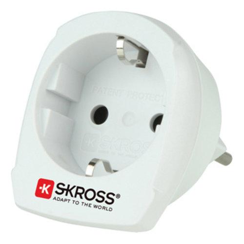 Skross Reisadapter Combo - Wereld-naar-Zwitserland Geaard