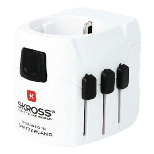 Skross Reisadapter Wereld PRO+ USB Geaard