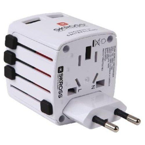 Skross Reisadapter Wereld USB Geaard