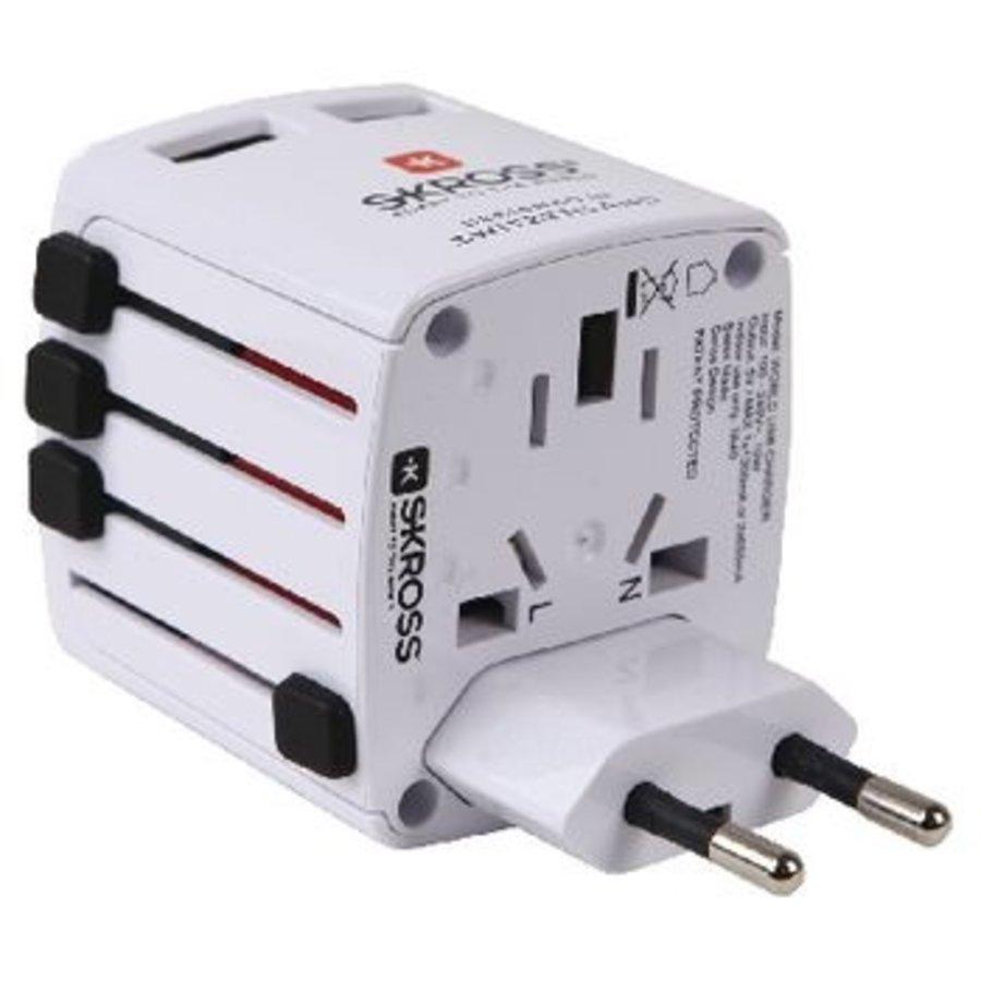 Reisadapter Wereld USB Geaard