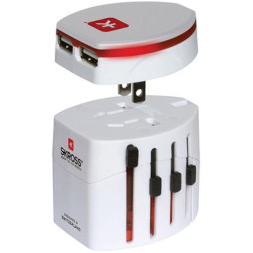 Skross Reisadapter Wereld EVO USB Ongeaard