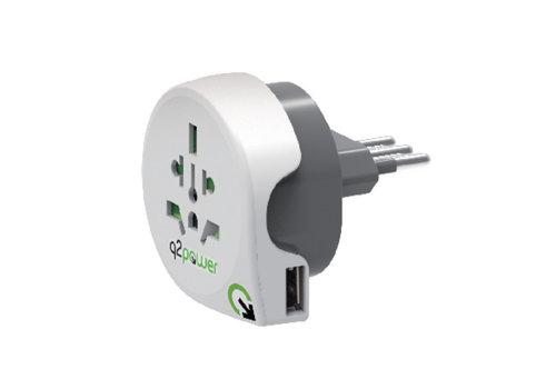 Q2 Power Reisadapter Wereld-naar-Italië USB Geaard