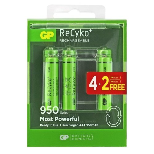 GP ReCyko+ AAA oplaadbare batterijen 950 mAh BL4+2
