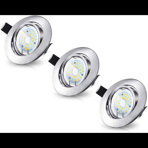 Beleuchtungonline.de LED Einbaustrahler Dimmbar Murillo 5W - 3 Stück - Edelstahl