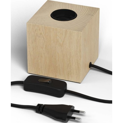 Beleuchtungonline.de Calex Lampenhalter E27 – Lampenhalter mit Schnur – Holz - Vintage Lampe