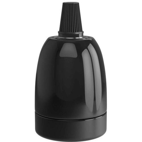 Beleuchtungonline.de Calex Lampenhalter E27 – Ø47mm – H63mm - Keramik - Schwarz - Vintage Lampe