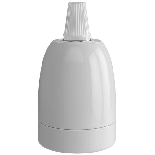 Beleuchtungonline.de Calex Lampenhalter E27 – Ø47mm – H63mm - Keramik - Weiß - Vintage Lampe
