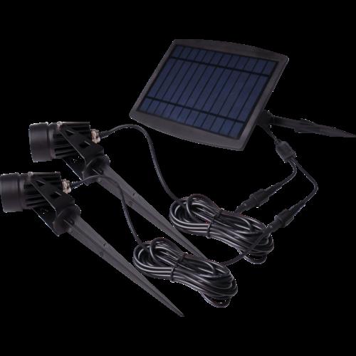 Beleuchtungonline.de LED Gartenstrahler Solar Doppelt - IP65 - Integrierte LED