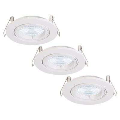 3 Stück Dimmbarer LED Einbaustrahler Dublin 5 Watt Weiß Kippbar 2700K