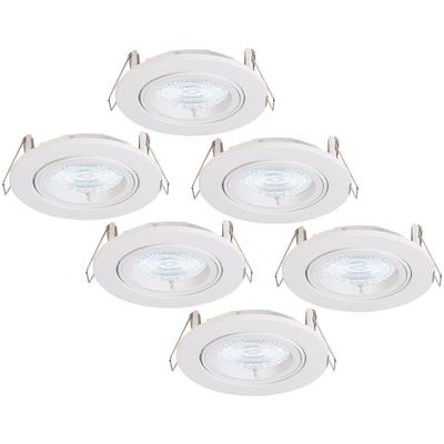 6 Pack Dimmbarer LED Einbaustrahler Dublin 5 Watt Weiß Kippbar 2700K