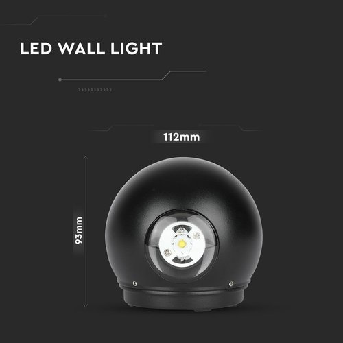 Beleuchtungonline.de LED Wandleuchte Globe Schwarz - Beidseitig - 3000K - 6W