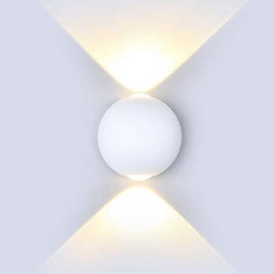 LED Wandleuchte Globe Weiß - Beidseitig - 3000K - 6W