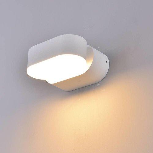 Beleuchtungonline.de LED Wandleuchte Oval Weiß - Kippbar - 3000K - 6W