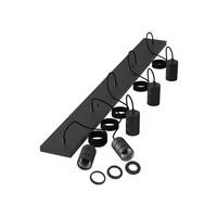Calex Calex Multi Cord Deckenleuchte - 5x E27 - Schwarz - Vintage Lampe
