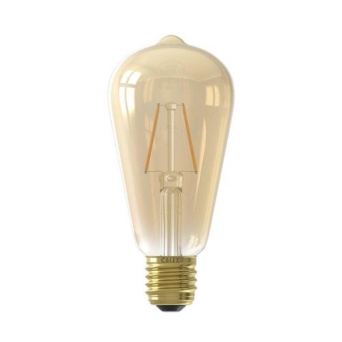 Calex Calex LED Full Glass Filament Rustic Lamp 2W - 130lm - E27  Gold 2100K - Vintage Lampe