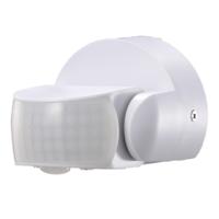 Lightexpert Weißer Aufbau Bewegingssensor 180° mit Dämmerungsschalter 12M Reichweite Max. 600W IP65
