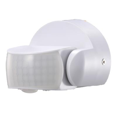 Weißer Aufbau Bewegingssensor 180° mit Dämmerungsschalter 12M Reichweite Max. 600W IP65