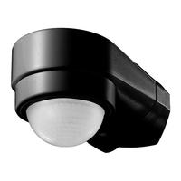 Lightexpert Schwarzer Aufbau Bewegingssensor 240° mit Dämmerungsschalter 10M Reichweite - IP65