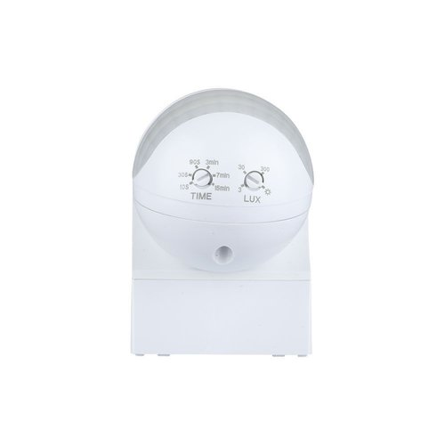 Lightexpert Weißer Aufbau Bewegingssensor 180° mit Dämmerungsschalter 12M Reichweite