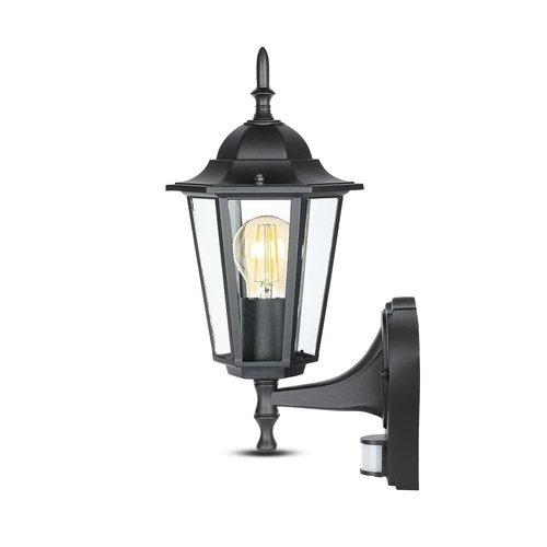 Beleuchtungonline.de Klassische Außenleuchte Schwarz mit Bewegungsmelder - E27
