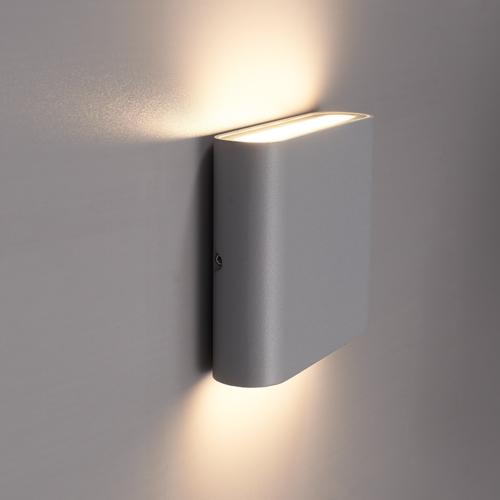 Beleuchtungonline.de Dimbare LED Wandleuchte Dallas S Grau - 3000K - 6W - IP54
