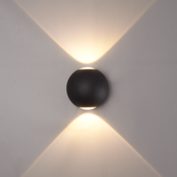 Beleuchtungonline.de LED Wandleuchte Globe Beidseitig -  Schwarz  - 3000K -  2W - IP54