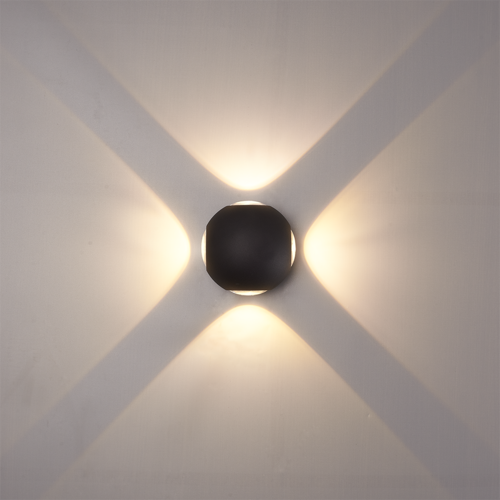 Beleuchtungonline.de LED Wandleuchte Globe 4 Lichter -  Schwarz  - 3000K -  4W - IP54