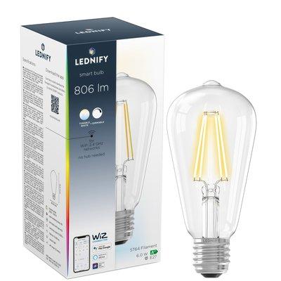 LEDNIFY WiZ Connected Smart LED Filament Rustic Clear - E27 - 6W - 806LM - 2200K-5500K