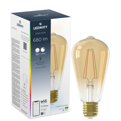 LEDNIFY WiZ Connected Smart LED Filament Rustic Amber - E27 - 6W - 680LM - 2200-4000K
