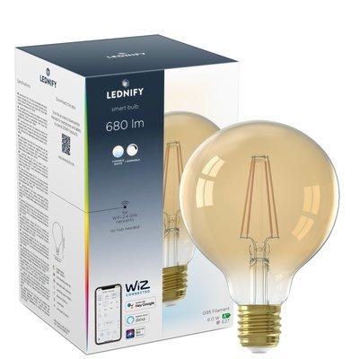 LEDNIFY WiZ Connected Smart LED Filament Globe Amber - E27 - 6W - 680LM - 2200-4000K