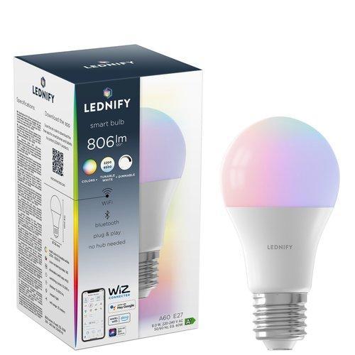 Lednify LEDNIFY WiZ Connected Smart LED Standard RGB - E27 - 8W - 806LM - 2200-6500K