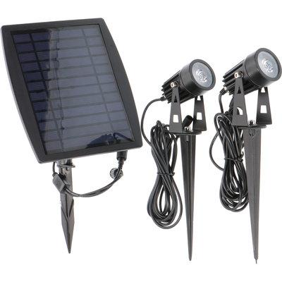 LED Gartenstrahler Solar Doppelt - IP65 - Integrierte LED