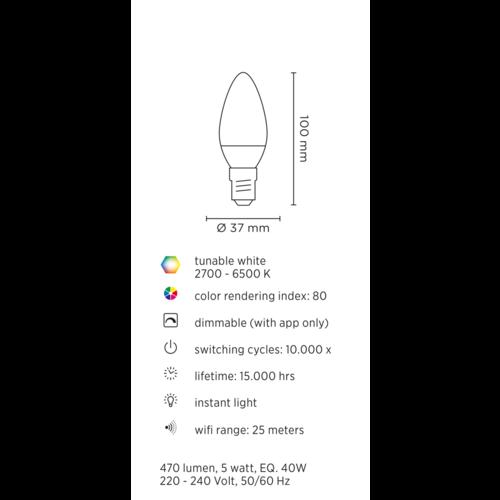 Lednify LEDNIFY WiZ Connected Smart LED Candle - E14 - 5W - 470LM - 2700-6500K