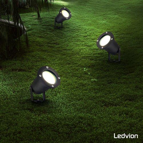 Ledvion LED Gartenstrahler Aluminium - IP65 - GU10 Fassung