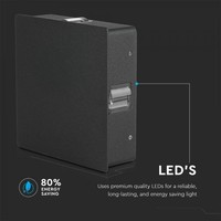 Lightexpert LED Wandleuchte Quadrat Schwarz - 3000K - 4W - IP65 - 440 Lumen