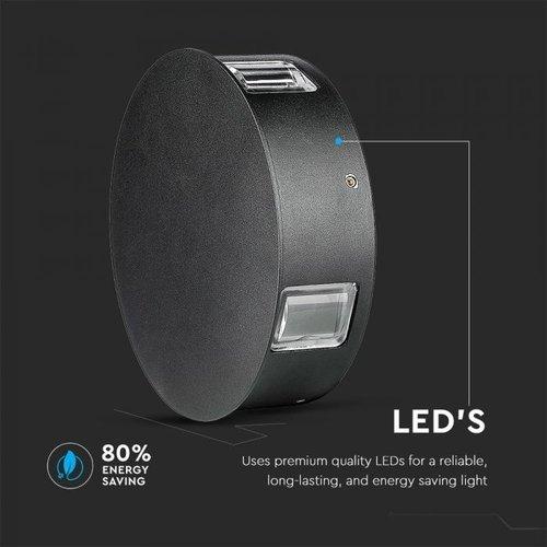 Lightexpert LED Wandleuchte Rund Schwarz - 4000K - 4W - IP65 - 440 Lumen