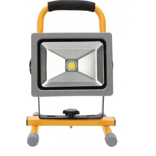 Shada Aufladbar LED Arbeitsscheinwerfer 20W -  Batterielampe - Einstellbare Baustrahler mit Akku - 1500lm - 6500K
