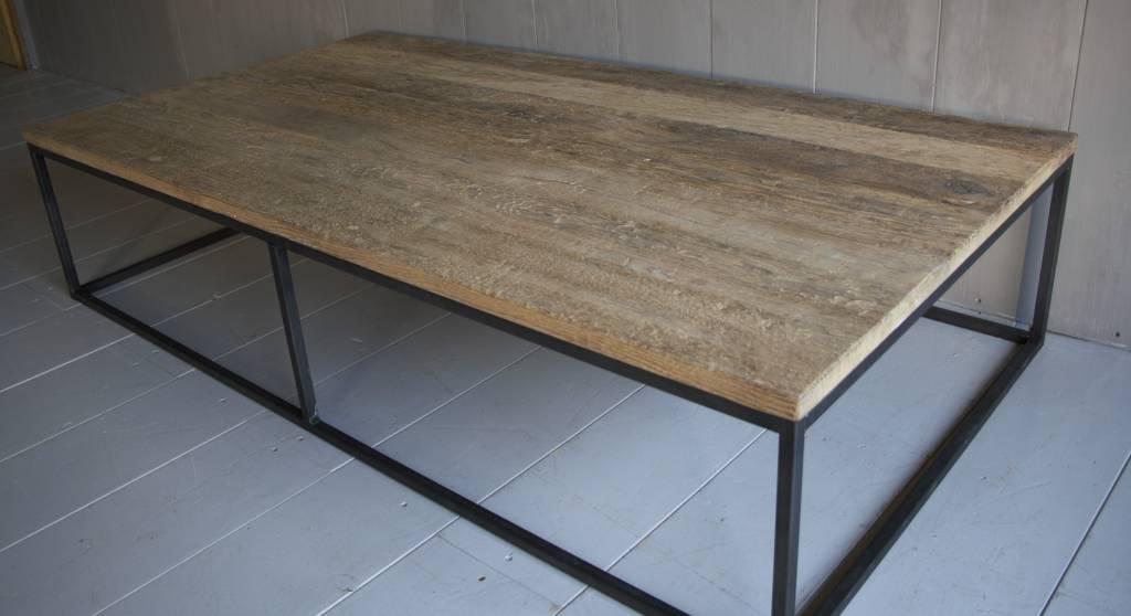 Salontafel oud eikenhout met ijzeren onderstel-3