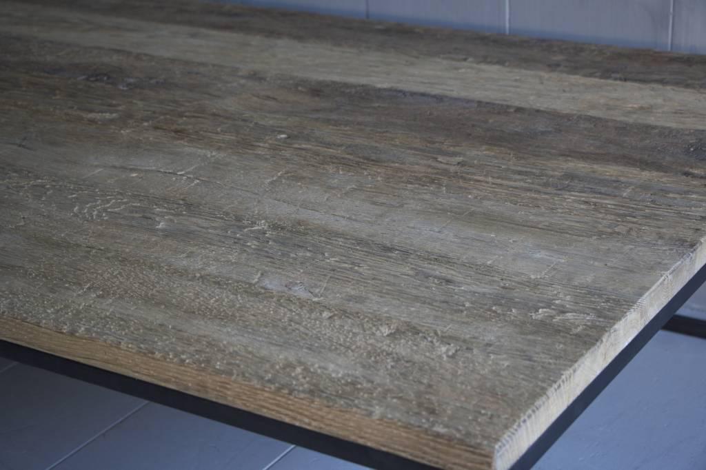 Salontafel oud eikenhout met ijzeren onderstel-4