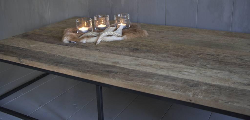 Salontafel oud eikenhout met ijzeren onderstel-5
