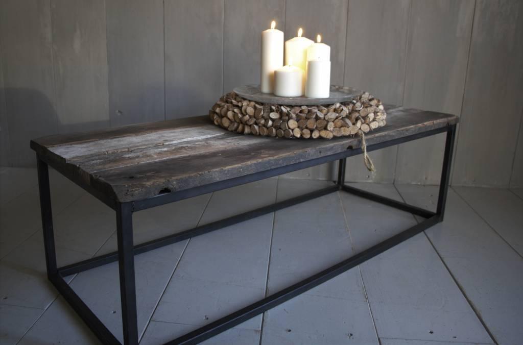 Salontafeltje oud donker eikenhout met ijzeren onderstel 112 cm-4